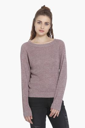 ONLY Womens Round Neck Slub Pullover