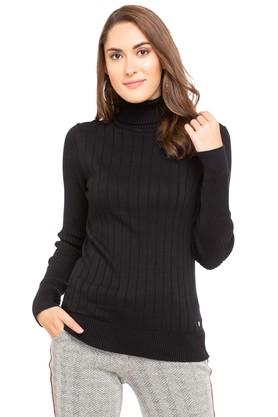 PEPE Womens High Neck Solid Sweater