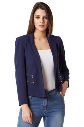 Womens Notched Collar Solid Jacket
