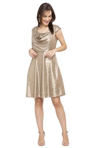 Womens Cowl Neck Shimmer Skater Dress