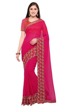 DEMARCAWomens Colour Block Embroidered Saree With Blouse Piece