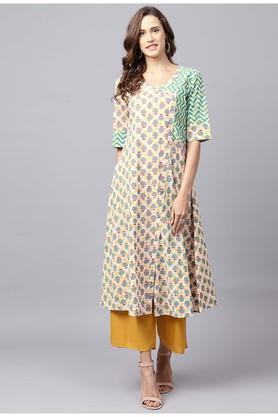 Womens V- Neck Printed Kurta