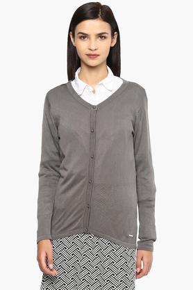VAN HEUSENWomens V Neck Solid Knitted Cardigan