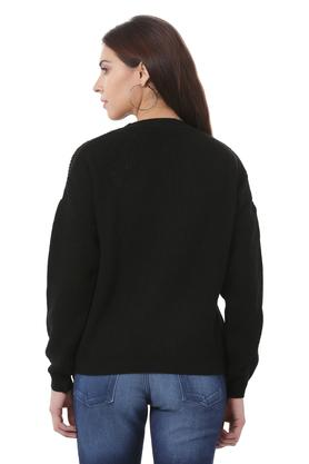 Womens Round Neck Self Printed Applique Sweater
