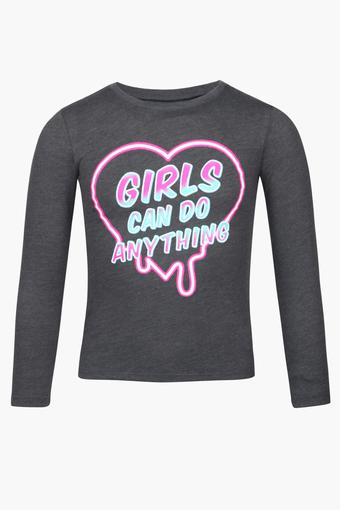 Girls Round Neck Graphic Print Top