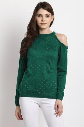 MARIE CLAIRE Womens Round Neck Embellished Pullover