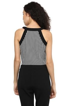 Womens Zip Through Neck Striped Top