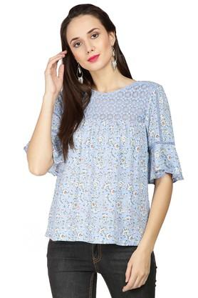 Womens Round Neck Printed Lace Top