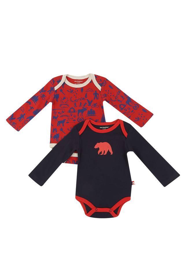Boys Envelope Neck Printed Babysuit - Pack Of 2