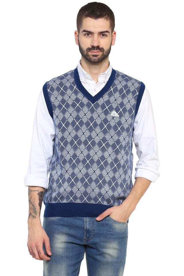 Mens V Neck Printed Sweater