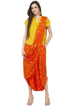 Womens Printed Dhoti Saree