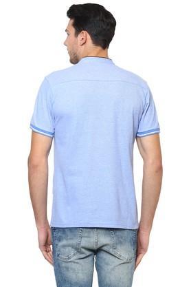 Mens Straight Fit Mandarin Collar Slub T-Shirt