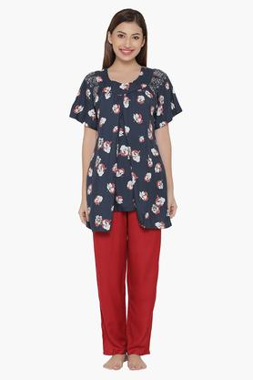 CLOVIA Maternity Printed Top & Pyjama Set