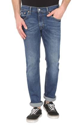 Mens 5 Pocket Whiskered Effect Jeans (65504)