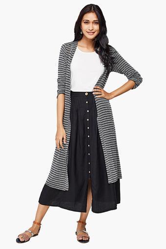 62788bd0b74 Buy GLOBAL DESI Womens Open Front Striped Shrug