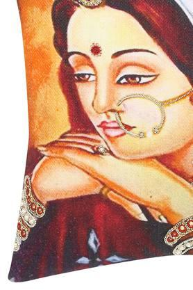 Square Rajasthan Lady Embroidered Cushion Cover