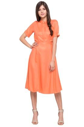 Womens Solid Knee Length Dress