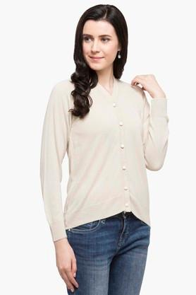 ONER Womens V Neck Slub Cardigan