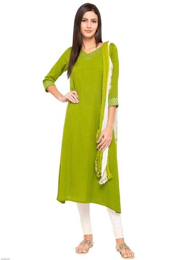 Womens V-Neck Embroidered Churidar Suit