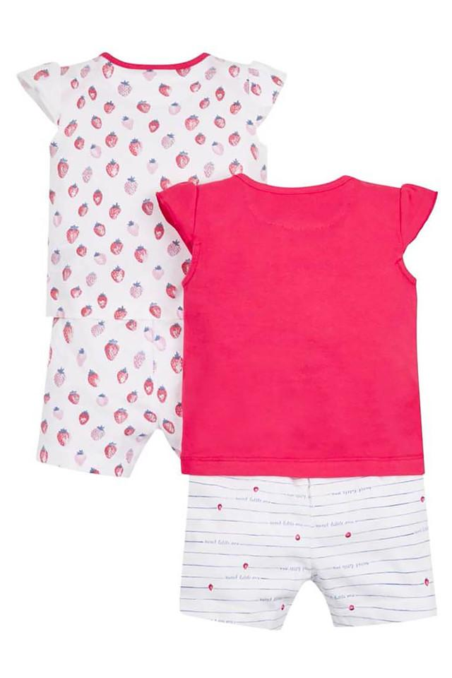 Girls Envelope Neck Printed Tee and Shorts - Pack of 2