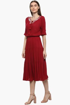 Womens Tie Up Neck Embroidered Midi Dress