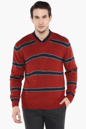 WILLS LIFESTYLEMens V Neck Stripe Sweater