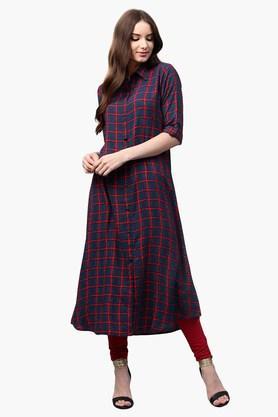 LIBASWomens Collared Checks Shirt Style Kurta