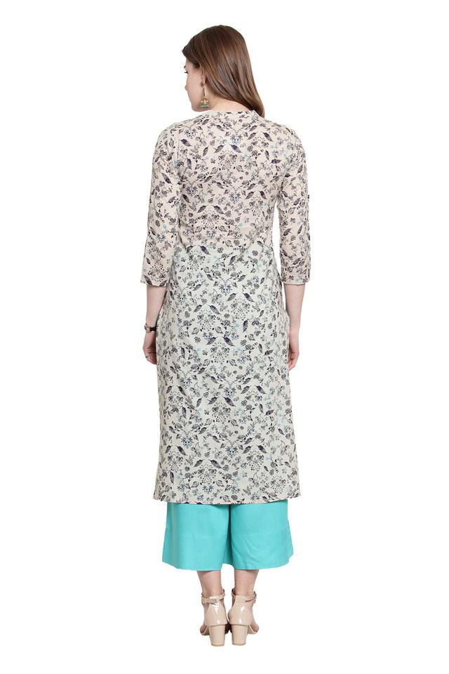 Womens Mandarin Collar Printed Kurta and Palazzo Set