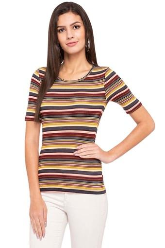 Womens Round Neck Striped Top