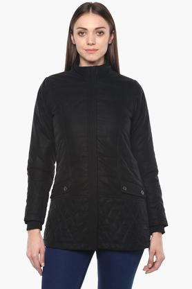 MONTE CARLOWomens Zip Through Neck Solid Quilted Jacket - 204635005_9212