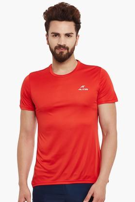 ALCIS Mens Slim Fit Round Neck Solid T-Shirt - 203098776