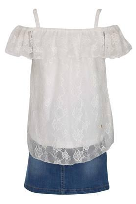 Girls Off Shoulder Lace Top and Skirt