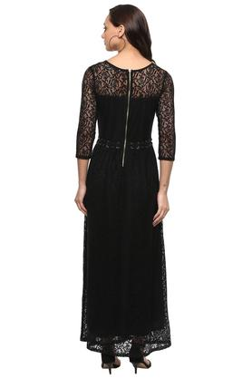 Womens Round Neck Lace Maxi Dress