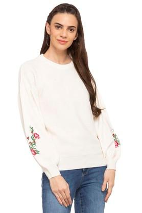 ELLE Womens Round Neck Embroidered Sweater