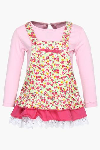 Girls Floral Print Dungaree Dress