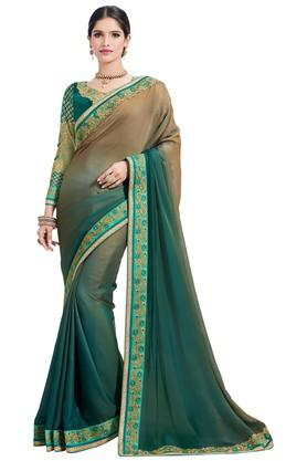 ASHIKA Plain Soft Silk Saree With Blouse Piece