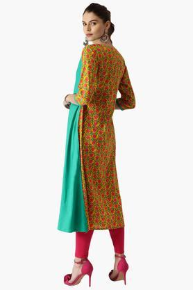 Womens Rayon Printed A Line Kurta With Jacket