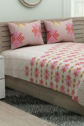 SPACESEthnic Rangana Printed Double Bed Sheet With Pillow Cover - 204761232_9557