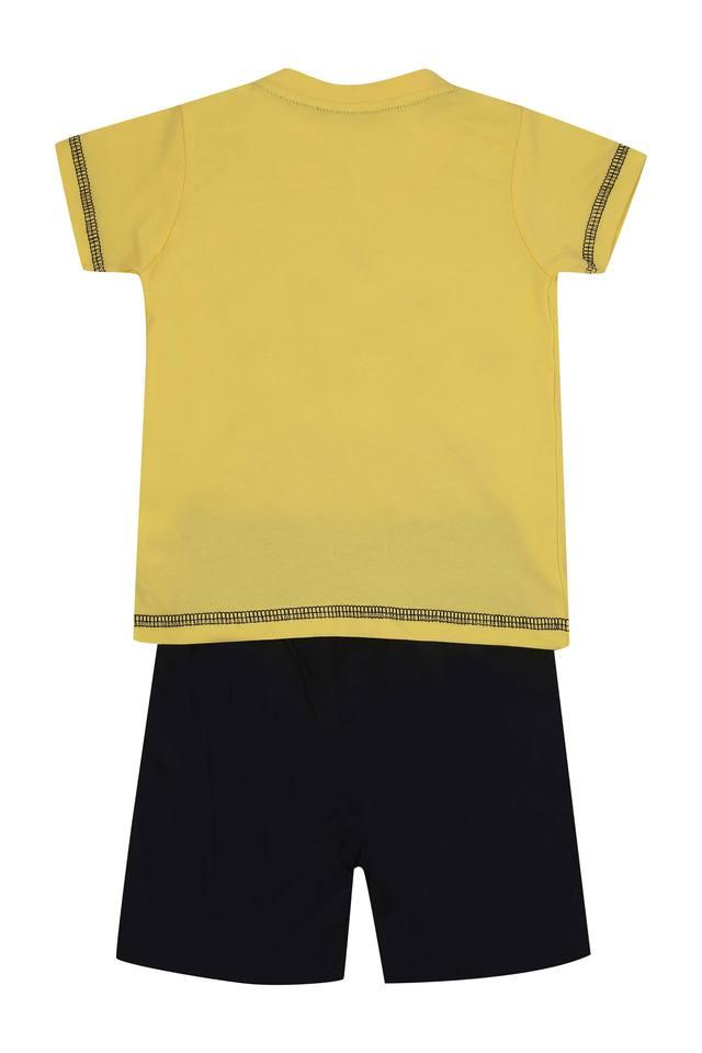 Boys Round Neck Printed Top and Shorts Set
