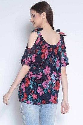 Womens Scoop Neck Floral Print Top
