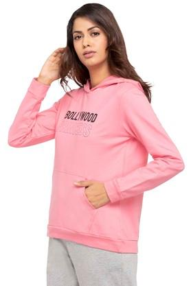 Womens Hooded Neck Graphic Print Sweatshirt