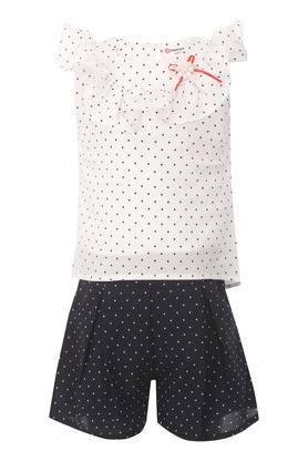 Girls Round Neck Dot Pattern Top and Shorts Set