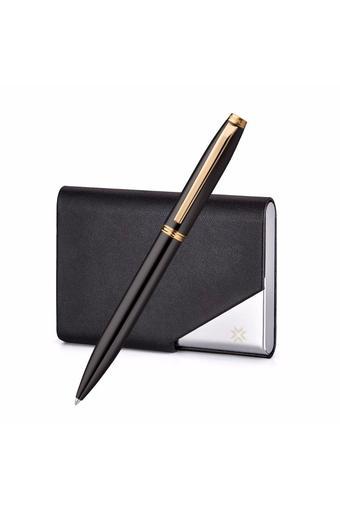 Atlas Chrome Trim Ballpoint Pen With Business Card Holder