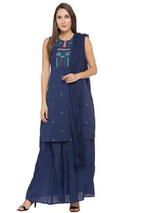 Womens Round Neck Embroidered Kurta Skirt and Dupatta Set