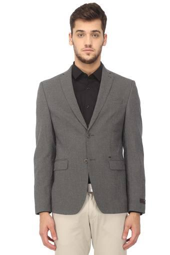 Mens Regular Fit Notched Lapel Slub Blazer