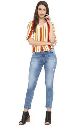 Womens V Neck Striped Shirt