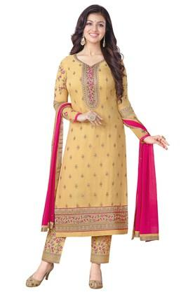 VRITIKA Womens Mustard Georgette Staright Cut Suit