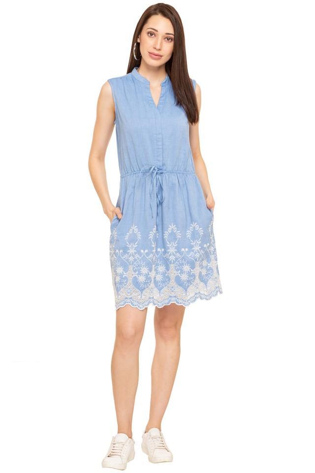 Womens Mandarin Neck Embroidered Wrap Dress