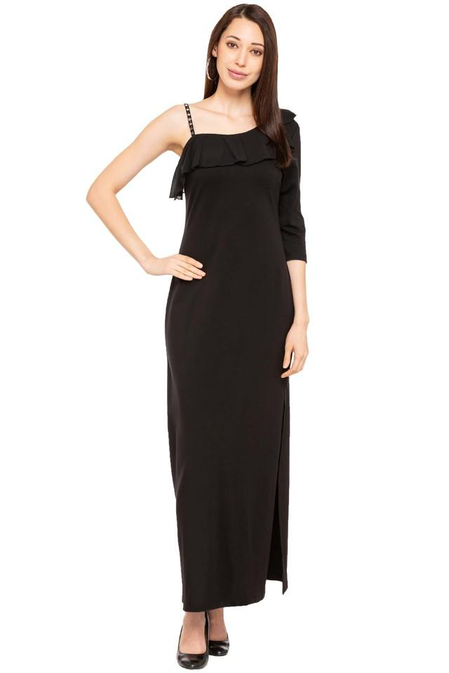 Womens Solid One Shoulder Dress