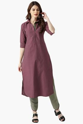 LIBAS Womens Blend Straight Checks Kurta With Trouser